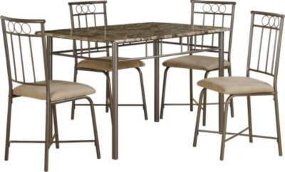 Bronze for Cappuccino Marble and Bronze 5-Piece Dining Set by Monarch (MRCI1029)
