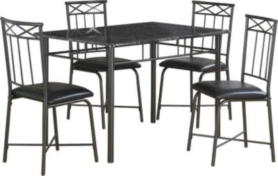 Grey for Grey Marble 5-Piece Dining Set by Monarch (MRCI1036)