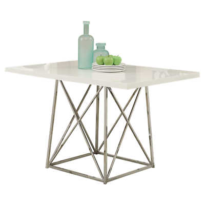 Picture of White Glossy Dining Table by Monarch