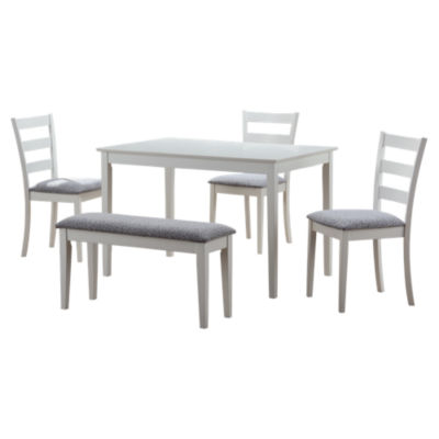 MRCI121-WHITE: Customized Item of 5-Piece Dining Set with Bench and 3 Side Chairs by Monarch (MRCI121)
