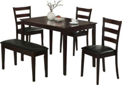 Cappuccino for 5-Piece Dining Set with Bench and 3 Side Chairs by Monarch (MRCI121)