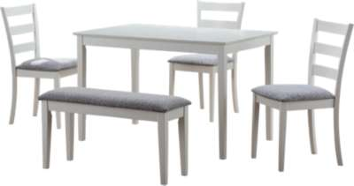 White for 5-Piece Dining Set with Bench and 3 Side Chairs by Monarch (MRCI121)