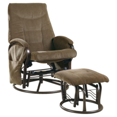 Picture of Chenille Swivel Rocker Recliner with Ottoman by Monarch