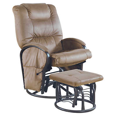 Picture of Tan Microfiber Swivel Rocker Recliner with Ottoman by Monarch