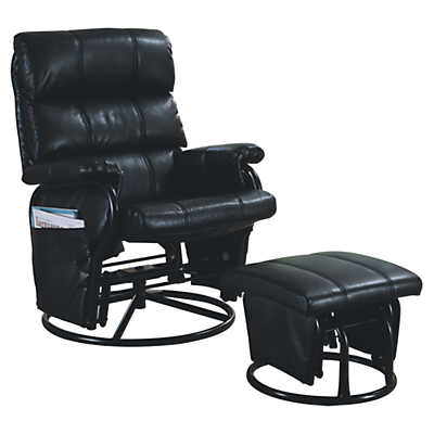 Picture of Black Leather-Look Swivel Rocker Recliner with Ottoman