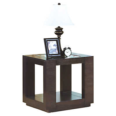 Picture of Cappuccino End Table with Glass Insert by Monarch