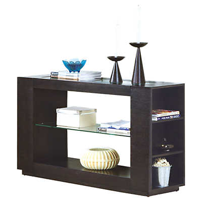Picture of Cappuccino Console Table with Glass Insert by Monarch