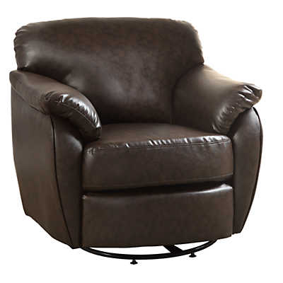 Picture of Leather-Look Swivel Accent Chair by Monarch