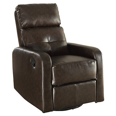 MRCI8085-DARKBROWN: Customized Item of Bonded Leather Swivel Glider Recliner by Monarch (MRCI8085)