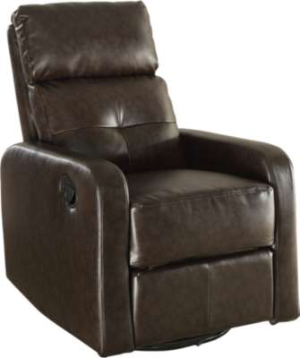 Dark Brown for Bonded Leather Swivel Glider Recliner by Monarch (MRCI8085)