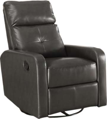 Charcoal Grey for Bonded Leather Swivel Glider Recliner by Monarch (MRCI8085)