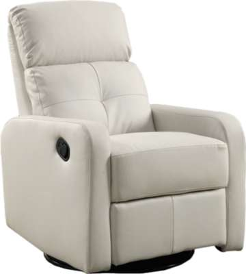 White for Bonded Leather Swivel Glider Recliner by Monarch (MRCI8085)