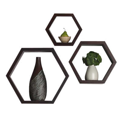Picture of Hexagon Wall Accent Shelves, Set of 3