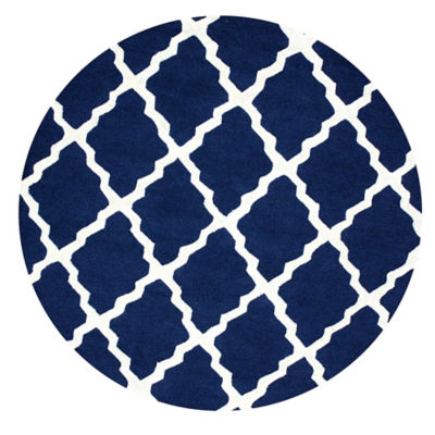 Picture of Hand Hooked Marrakech Trellis Round Rug in Navy by nuLOOM