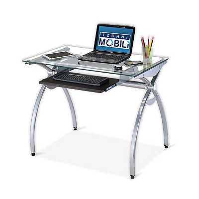 Picture of Curved Steel Desk with Glass Top