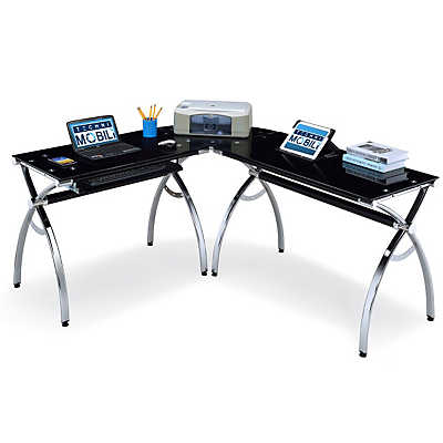 Picture of L-Shaped Curved Steel Desk in Chrome