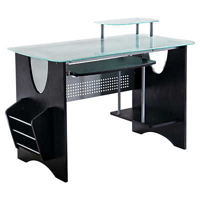 picture of compact black computer desk with storage black computer desks