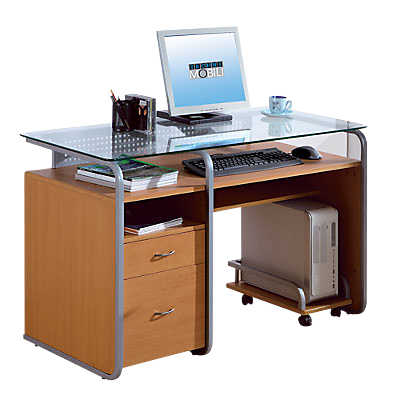 Computer desk with glass top smart furniture for Mesa para computadora