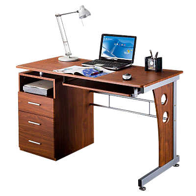Picture of Computer Desk with Pedestal and Keyboard Tray