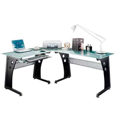 Picture for L-Shaped Computer Desk with Glass Top