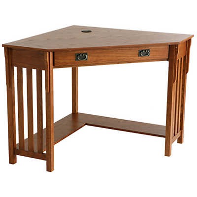 Picture of Peck Corner Desk in Mission Oak