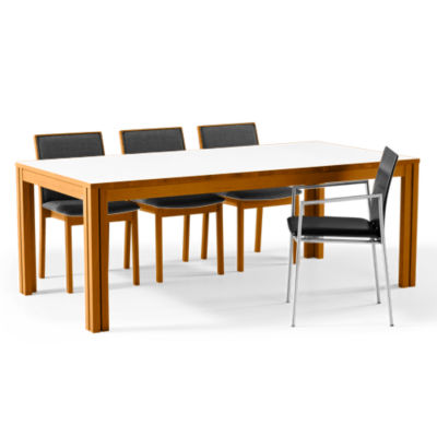 SKSM24-SP-WHITE LAM-SOLID OAK SOAP: Customized Item of Rectangular Extending Dining Table SM 24 by Skovby (SKSM24)