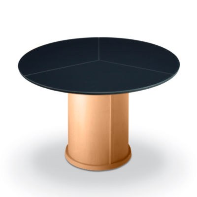 SKSM32-QS-FROSTED GLASS WALNUT: Customized Item of Round Expanding Dining Table SM 32 by Skovby (SKSM32)