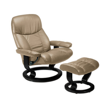 STAMBASSCO-QS-BLACK-BATICK BROWN: Customized Item of Stressless Consul Chair Large with Classic Base by Ekornes (STAMBASSCO)
