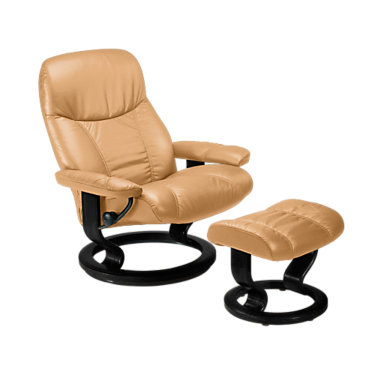 STCONSULCO-QS-TEAK-BATICK BLACK: Customized Item of Stressless Consul Chair Medium with Classic Base by Ekornes (STCONSULCO)