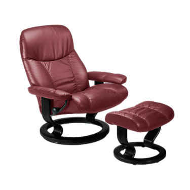 STDIPLOMATCO-QS-NATURAL-BATICK BURGUNDY: Customized Item of Stressless Consul Chair Small with Classic Base by Ekornes (STDIPLOMATCO)