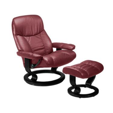 STDIPLOMATCO-QS-TEAK-BATICK BURGUNDY: Customized Item of Stressless Consul Chair Small with Classic Base by Ekornes (STDIPLOMATCO)