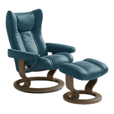 STEAGLECO-SP-WENGE-PALOMA OXFORD BLUE: Customized Item of Stressless Wing Chair Large with Classic Base by Ekornes (STEAGLECO)