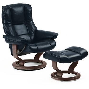 STKENSINGTON-QS-BLACK-PALOMA OXFORD BLUE: Customized Item of Stressless Mayfair Chair Large with Classic Base by Ekornes (STKENSINGTON)