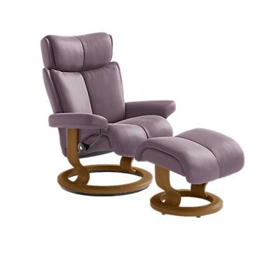 STMAGICSCO-QS-TEAK-PALOMA BLACK: Customized Item of Stressless Magic Chair Small with Classic Base by Ekornes (STMAGICSCO)