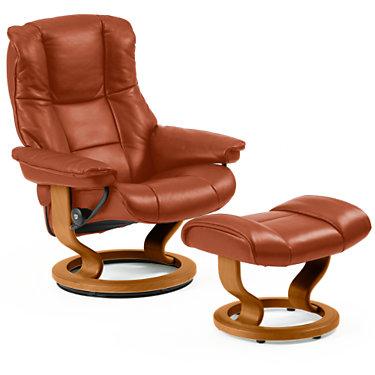 STMAYFAIR-QS-TEAK-PALOMA OXFORD BLUE: Customized Item of Stressless Mayfair Chair Medium with Classic Base by Ekornes (STMAYFAIR)