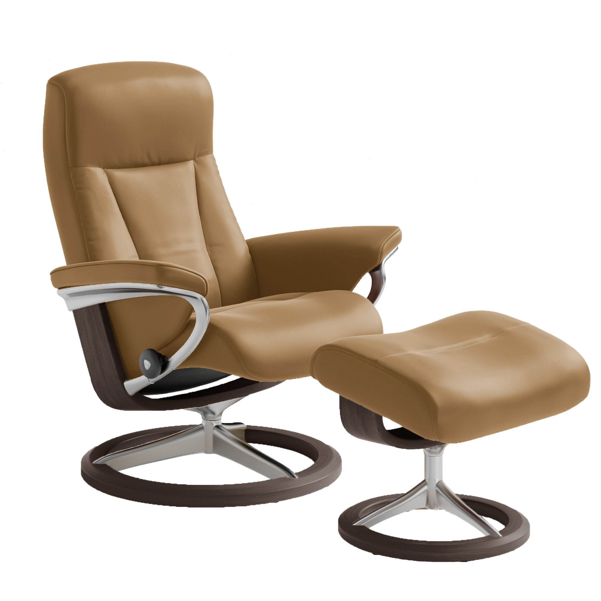 Stressless consul small chair and stool in batick leather - Picture Of Stressless President Chair Medium With Signature Base By Ekornes