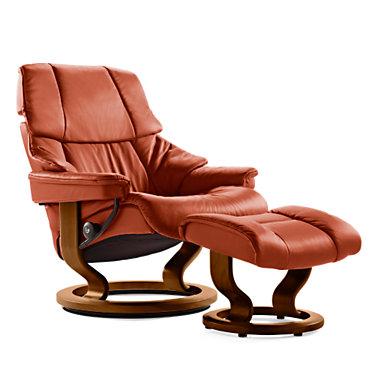 STRENOCO-SP-TEAK-PALOMA TAUPE: Customized Item of Stressless Reno Chair Medium with Classic Base by Ekornes (STRENOCO)