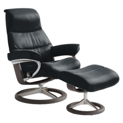 STVIEWCH-QS-PALOMA BLACK-WENGE: Customized Item of Stressless View Chair Medium with Signature Base by Ekornes (STVIEWCH)