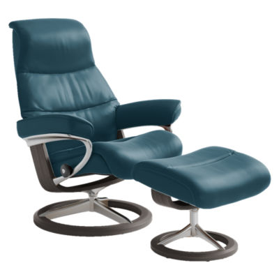 STVIEWCH-QS-CORI PETROL-03: Customized Item of Stressless View Chair Medium with Signature Base by Ekornes (STVIEWCH)