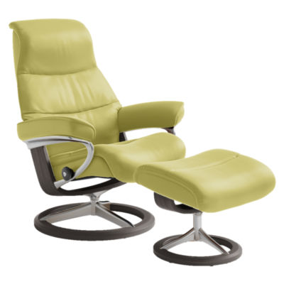 STVIEWCH-SP-PALOMA AMBER GREEN-03: Customized Item of Stressless View Chair Medium with Signature Base by Ekornes (STVIEWCH)