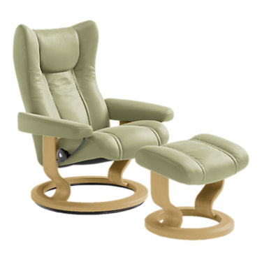 STWINGCO-SP-WENGE-PALOMA LIGHT GREY: Customized Item of Stressless Wing Chair Medium with Classic Base by Ekornes (STWINGCO)