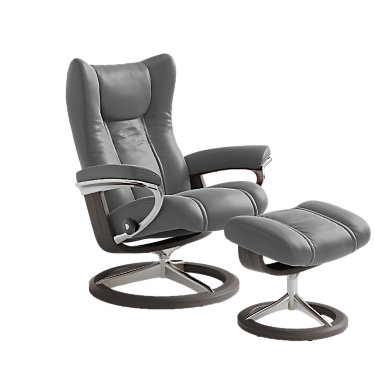STWINGCOSIG-SP-3-CORI SILVER CLOUD: Customized Item of Stressless Wing Chair Medium with Signature Base by Ekornes (STWINGCOSIG)