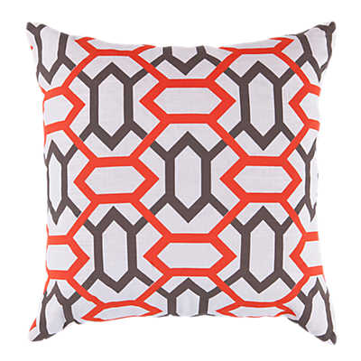 Picture of Geometry Pillow, Red and Chocolate