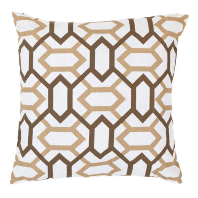 Picture of Geometry Pillow, Tan and Chocolate