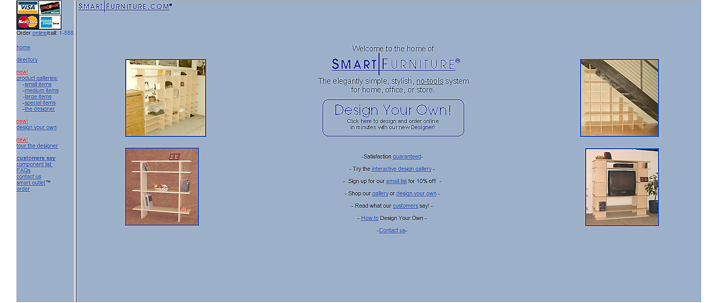 Extremely old version of Smart Furniture website.
