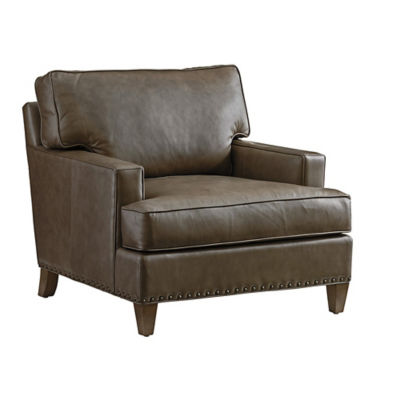 Picture of Cypress Point Hughes Leather Chair by Tommy Bahama Home