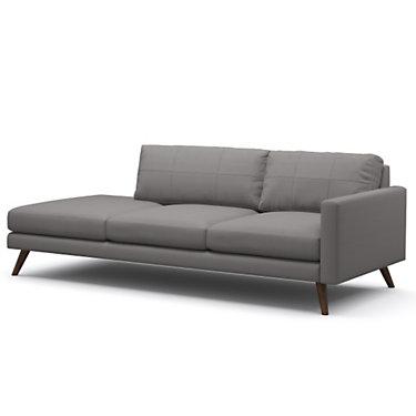 TMDANE1ARMR-DOVEGREY-WALNUT: Customized Item of Dane One-Arm Sofa by TrueModern (TMDANE1ARM)