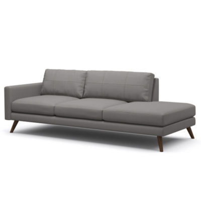 TMDANE1ARMR-DOVEGREY-WALNUT: Customized Item of Dane One-Arm Sofa by TrueModern (TMDANE1ARM)