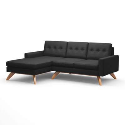 "TMLUNASEC-LEFT-CHARCOAL-HONEY: Customized Item of Luna 90"" Sofa with Chaise by TrueModern (TMLUNASEC)"