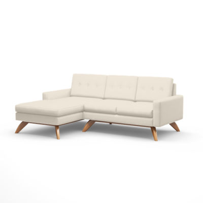 TMLUNASOFALOFT-L-IVORY-WALNUT: Customized Item of Luna Loft Sofa with Chaise by TrueModern (TMLUNASOFALOFT)